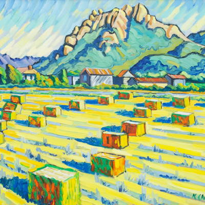 Hollister And Hay Bales by Ken Christensen, Oil On Canvas 30 x 40 inches