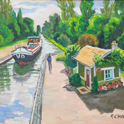 Loire Canal Lock by Ken Christensen, Oil On Canvas 24 x 30 inches