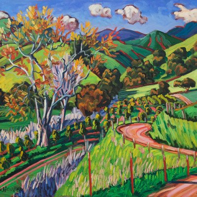 Sycamore Tree's In The Valley by Ken Christensen, Oil On Canvas 30 x 40 inches