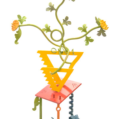Flowers In A Triangle Vase by Kalani Engles Steel Sculpture 38 x 24 inches