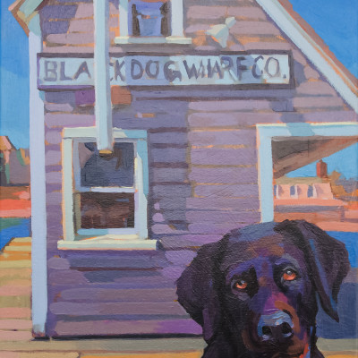 Black Dog by Nick Paciorek, OIl On Canvas 24 x 18 inches
