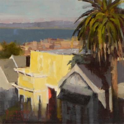Last Light Russian Hill, Oil on canvas, 12 x 12 inches