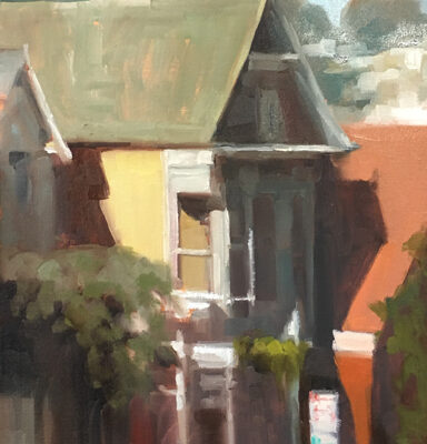 Side Street, Oil on panel, 24 x 12 inches