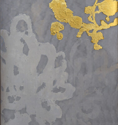 Alchemy 2412-5, Gold Leaf, Paint and torched mesh, 24 x 12 inches