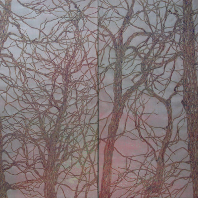 Veil 6036-1, 6036-2 Diptych, Mixed media, 60 x 72 inches