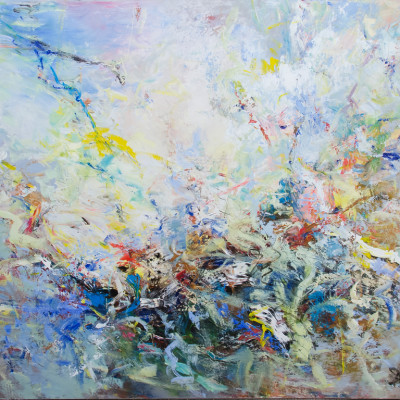 Freewheeling, Mixed media on canvas, 60 x 72 inches