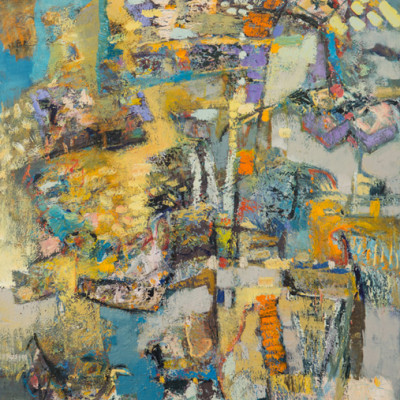 In Venice, Mixed media on canvas, 72 x 48 inches
