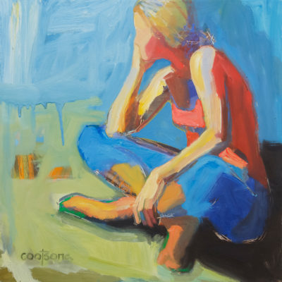 Listening, Oil on canvas, 27 x 27 inches