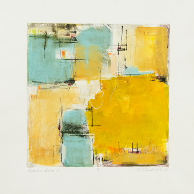 Between The Blues 2 by Kay Marshall, Painting On Paper 15 x 15 inches