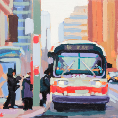 Bus Line, Oil on panel, 9 x 12 inches