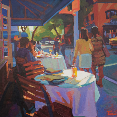 Cafe Stroll, Oil on canvas, 24 x 30 inches