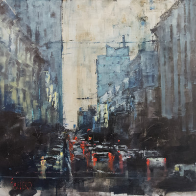 Downtown Blue, Oil on canvas, 24 x 25 inches