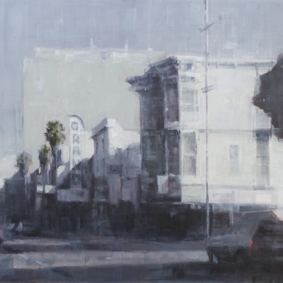 Downtown From the Mission, Oil on canvas, 30 x 40 inches