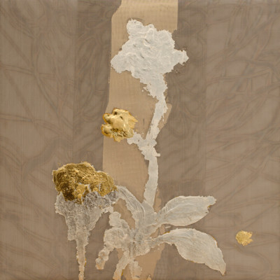Alchemy 1212-2, Gold leaf and torched mesh, 12 x 12 inches