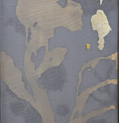 Alchemy 2412-2, Gold Leaf, Paint and Torched Mesh, 24 x 12 inches
