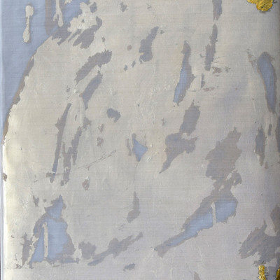 Alchemy 3612-4, Gold leaf and paint on mesh, 36 x 12 inches