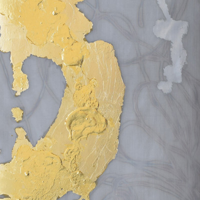 Alchemy 4812-1, Gold leaf and paint on torched mesh, 48 x 12 inches