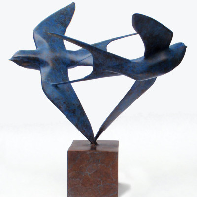 Barn Swallows by Kristine Taylor, Bronze Sculpture 12 x 12 inches