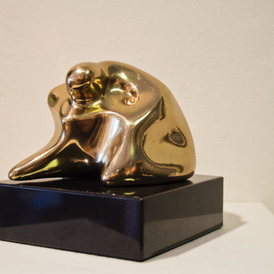Meditation by James Menzel-Joseph, Bronze Sculpture 7 x 6 inches