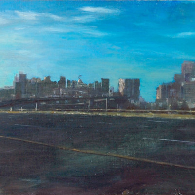 Interstate 280 #6, Oil on canvas, 14 x 30 inches