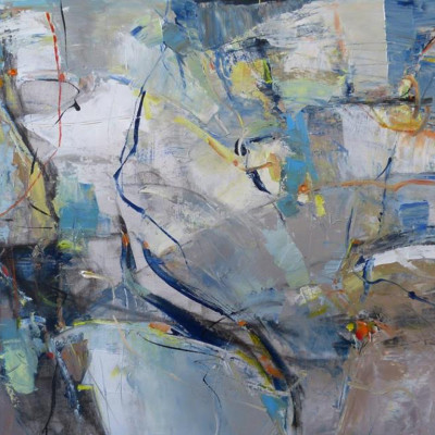 Navigating the Silence, Mixed media on canvas, 36 x 72 inches