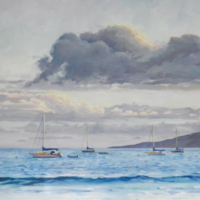 Boats at Lahaina, Oil on canvas, 18 x 24 inches