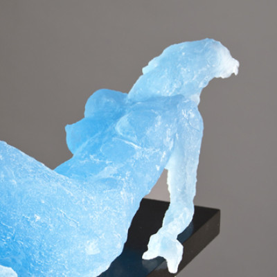 Reclining Nude, Blue, Cast resin, 9 x 25 inches