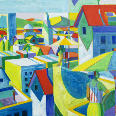 Terrace View, Acrylic on canvas, 43 x 57 inches